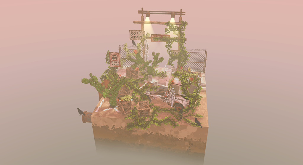 Small diorama covered in vines and cactus