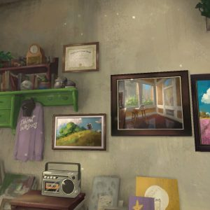 Artwork on the walls in Behind the Frame