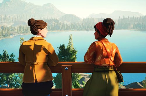 Meredith and Kay looking over the lake at the watch tower